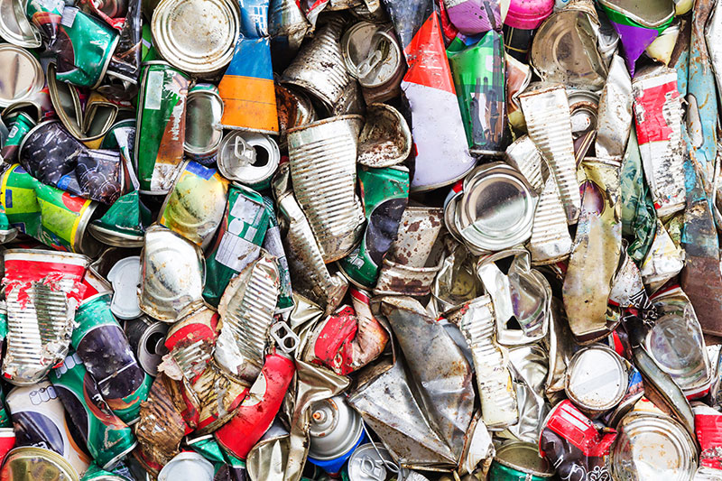 Old aluminum cans can be recycled for cash.