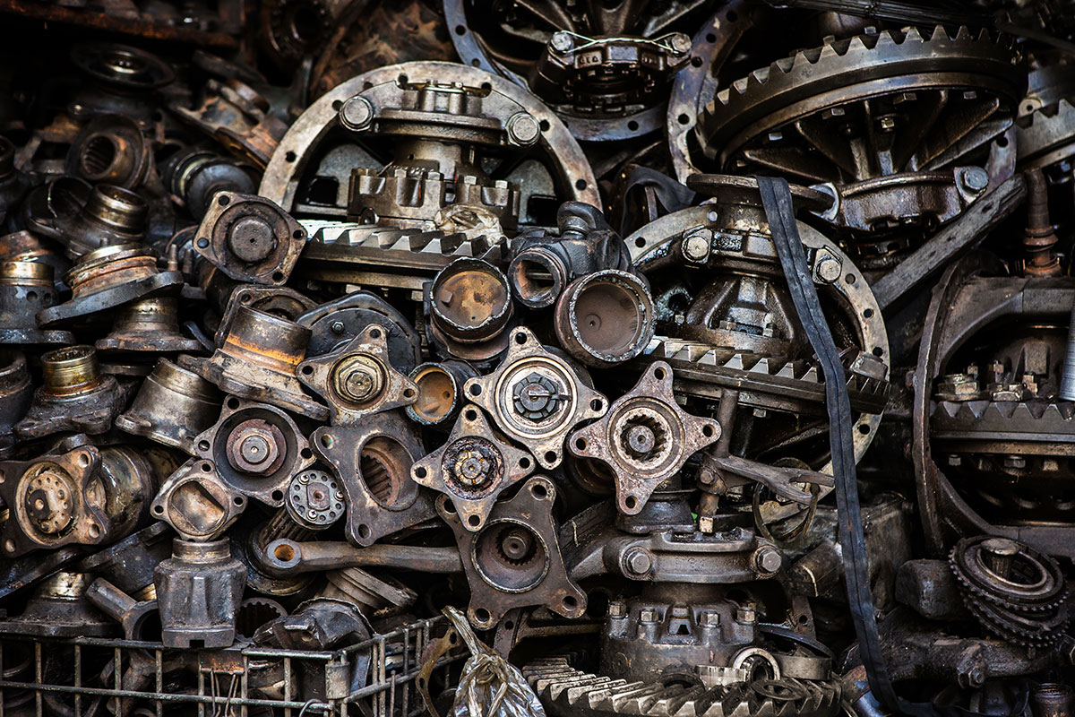 Scrap parts from farm machinery can be recycled.
