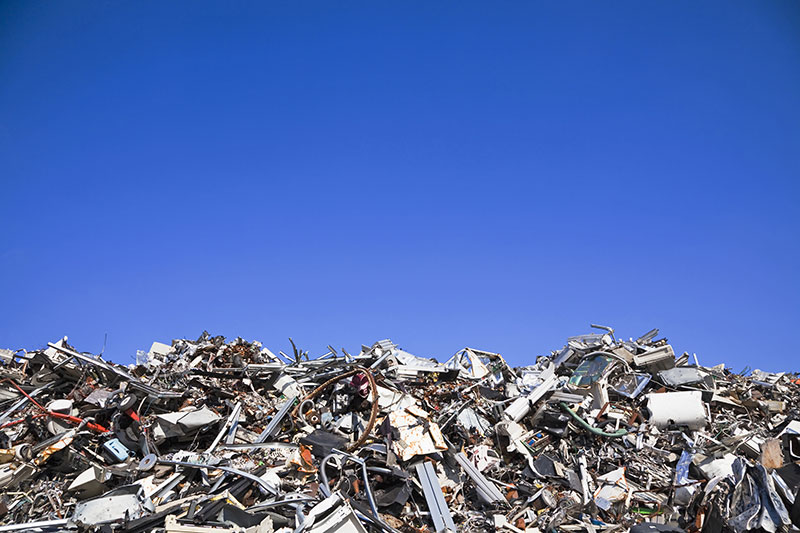A pile of scrap steel, ready to be recycled