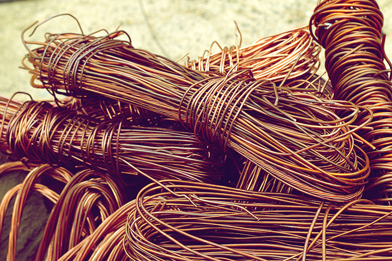 Copper wire that is ready to be recycled